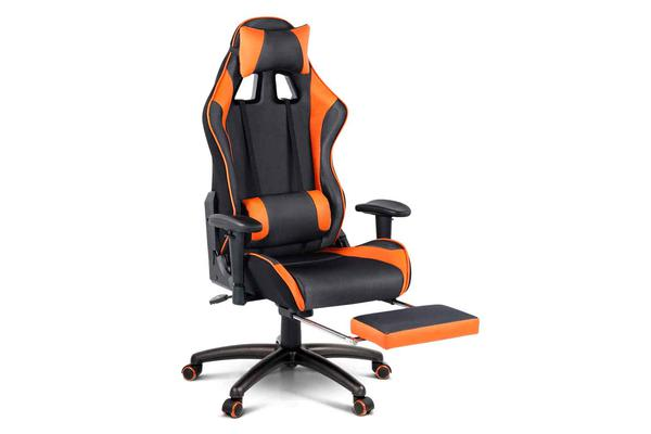 PU Leather & Mesh Reclining Gaming Executive Chair (Orange)