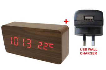 Red Led Wood Grain 3 Alarm Clock Temp Display + Usb Wall Charger Brown 6035