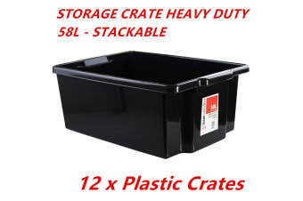 12 x Heavy Duty Stack-able Large Plastic Storage Tubs 58L Crates Containers Boxes