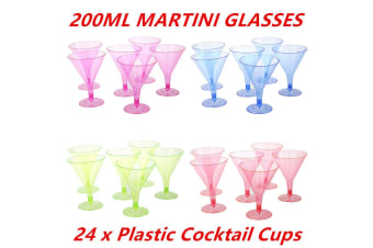 24 x 200ML COLORED DISPOSABLE PARTY PLASTIC COCKTAIL MARTINI GLASS CUPS WEDDING EVENT