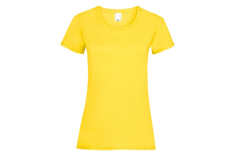 Womens/Ladies Value Fitted Short Sleeve Casual T-Shirt (Bright Yellow) (Small)