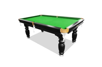 8FT Luxury Slate Pool Table Solid Timber Billiard Table Professional Snooker Game Table with Accessories Pack, Black Frame / Green Felt