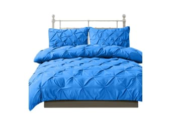 DreamZ Diamond Pintuck Duvet Cover Pillow Case Set in Double Size in Navy  -  Sky blueDouble