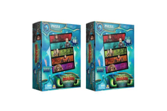 2x 48pc Dreamworks How To Train Your Dragon Characters Puzzle Kids/Child 3y+ Toy