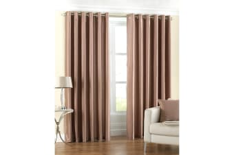 Riva Home Fiji Faux Silk Ringtop Curtains (Latte)