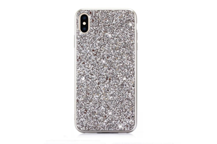 For iPhone XR Case Silver Glitter Powder Protective Cover Flexible Body