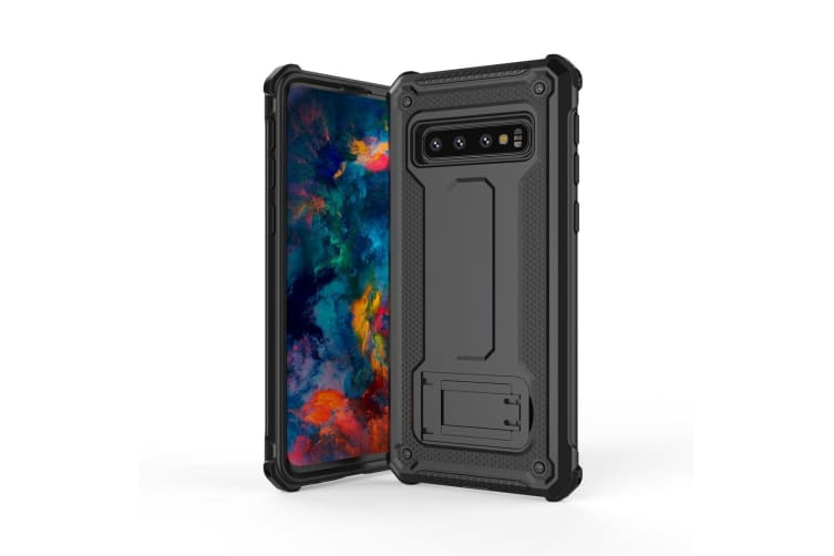 new products ce1b3 2913c For Samsung Galaxy S10 Case Black Ultra-Thin Shockproof PC+TPU Armour Back  Cover