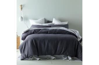 Waffle Linen Cotton Slate Quilt Cover Set KING by Accessorize
