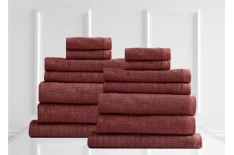 Style & Co Resort Towel Pack 14 Piece Egyptian Cotton - Marsala
