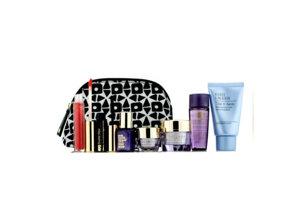 Estee Lauder Travel Set: Makeup Remover 30ml + Optimizer 30ml + Day Cream 15ml + Serum 7ml + Eye Cream 5ml + Mascara #01 + Lip Gloss #30 + Bag (7pcs+1bag)