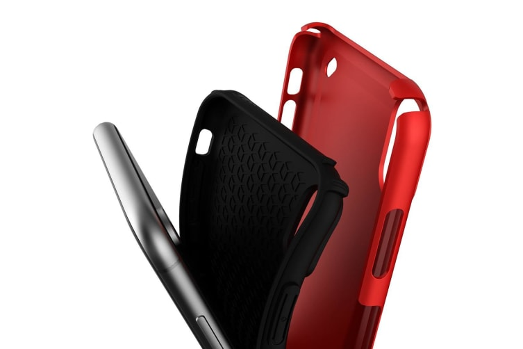 For iPhone XR Case Red Slim TPU PC Double Layer Shockproof Protective Cover