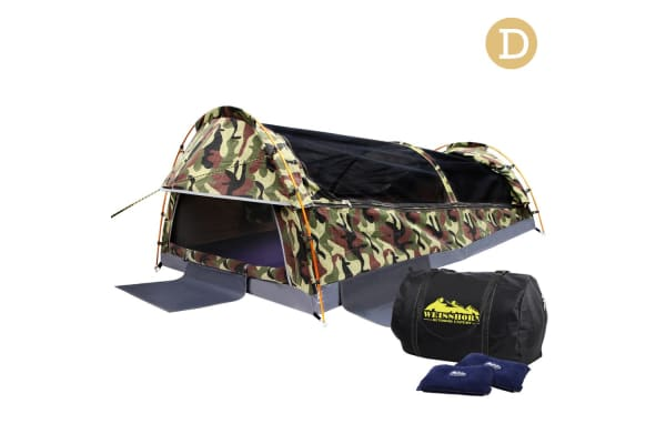 Double Camping Canvas Swag Tent with Air Pillow (Camo Green)