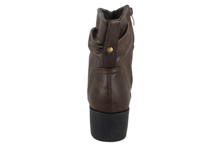 Spot On Womens/Ladies Rouched Ankle Boots (Brown) (UK 7)