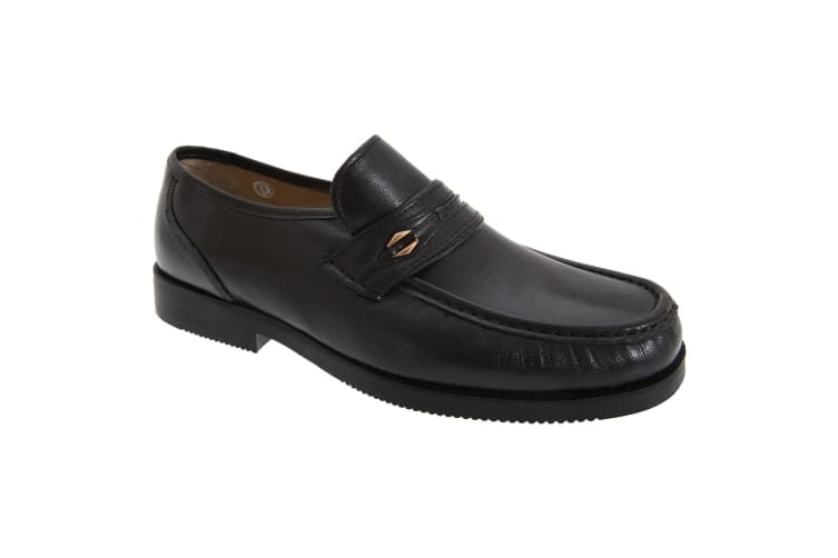 Tycoons Mens Wide Fitting Saddle Trim Moccasin Type Casual Shoes (Black) (7 UK)