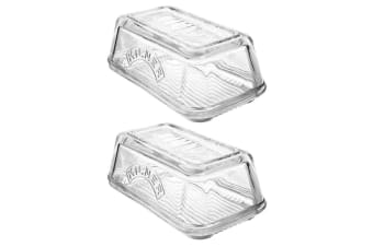 2PK Kilner Glass Butter Dish Dishwasher Microwave Safe Container Tableware