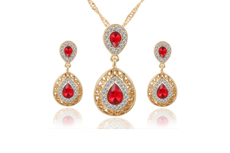 Women Crystal Rhinestone Gold Plated Necklace Earring Jewelry Set Red