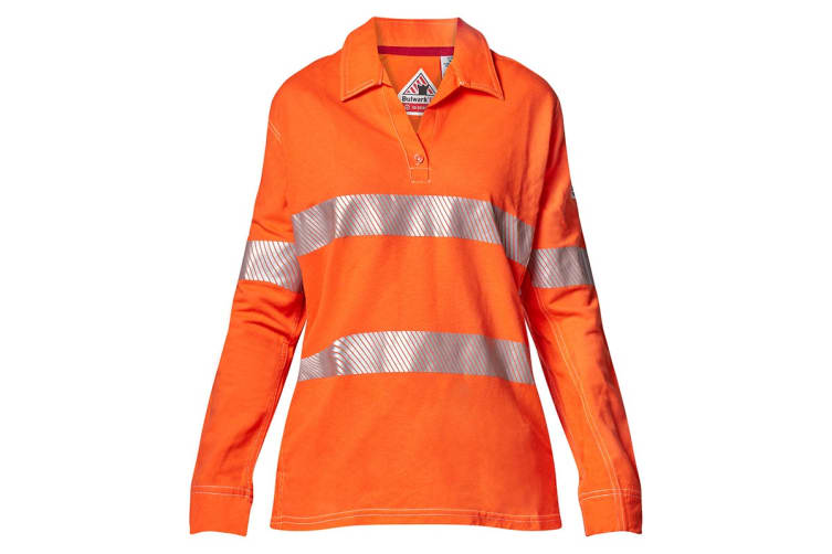 Hard Yakka Women's Bulwark iQ Flame Resistant Hi-Vis Taped Long Sleeve Polo (Orange, Size 5XL)