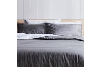 Canningvale Palazzo Linea 1000TC Pillowcase Twin Pack French Grey with Crisp White Stripe - 3cm Flange