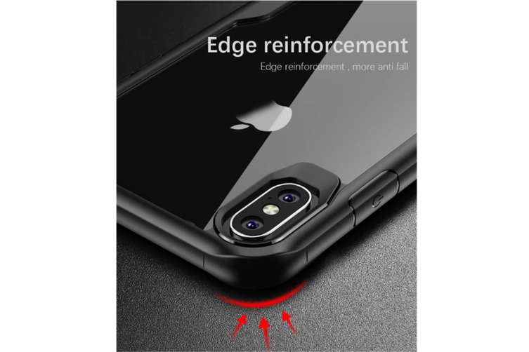Compatible For Iphone Xs Max 6.5Inch Protection Armor Soft Tpu Silicone + Pc Cover Case Black Phonexs