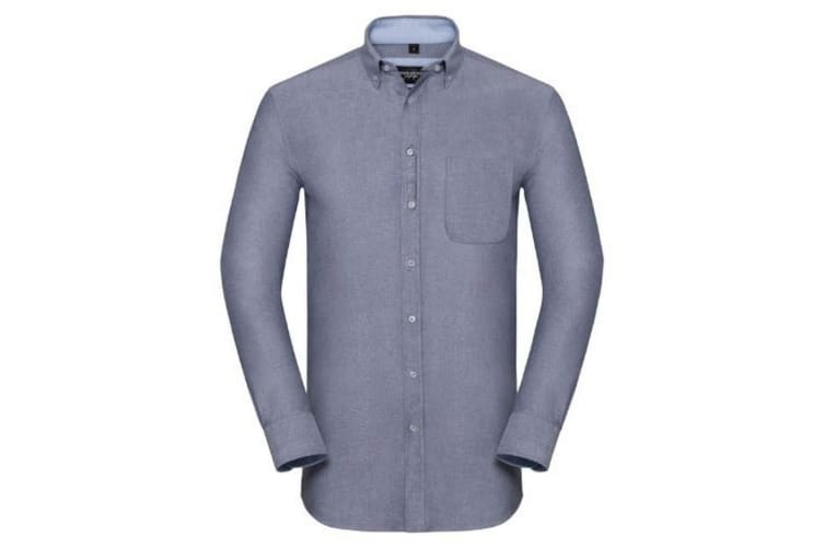 Russell Collection Mens Long Sleeve Tailored Oxford shirt (Oxford Navy/Oxford Blue) (L)