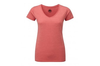 Russell Womens/Ladies V-Neck HD Short Sleeve T-Shirt (Red Marl) (L)