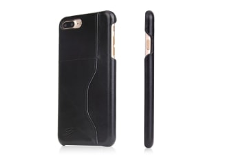 For iPhone 8 PLUS 7 PLUS Wallet Case Modern Wax Cow Durable Leather Cover Black