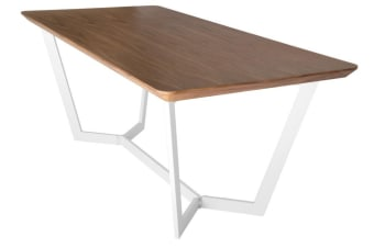 Delta Collection | Wood Dining Table | Matte White & Walnut | 180cm