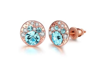 Blue Dawn Stud Earrings w/Swarovski Crystals-Rose Gold/Blue