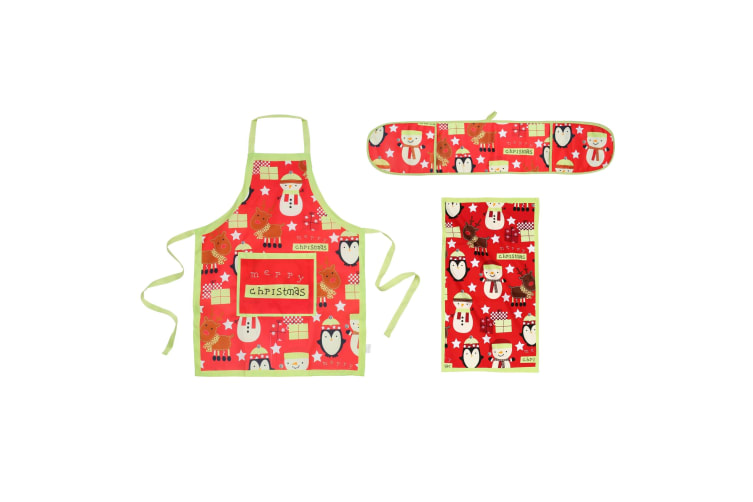 Christmas Shop Merry Christmas Kitchen Set (Oven Gloves  Apron And Tea Towel) (Red / Green) (One size)