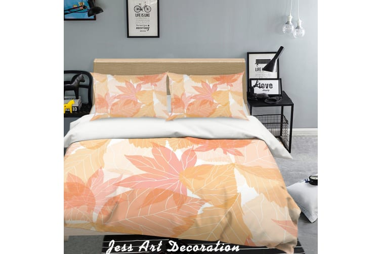 3D Red Leaf Quilt Cover Set Bedding Set Pillowcases  133-Double