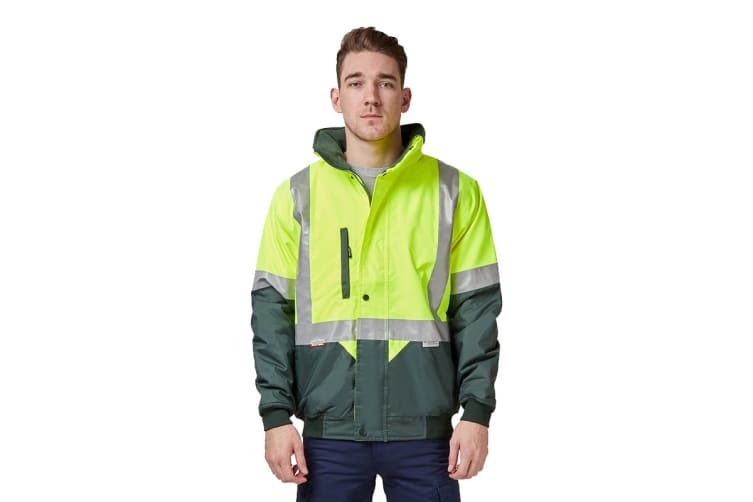 Hard Yakka Two Tone Quilted Flying Jacket (Yellow/Green, Size 4XL)