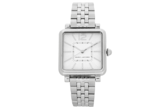 Marc Jacobs 30mm Square Vic Women Quartz Stainless Steel Wrist Watch Silver/WHT