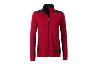 James and Nicholson Womens/Ladies Knitted Workwear Fleece Jacket (Red Melange/Black) (3XL)
