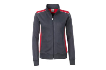 James and Nicholson Womens/Ladies Workwear Level 2 Sweat Jacket (Carbon Grey/Red) (M)