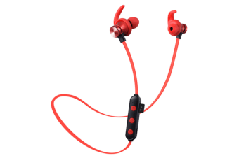Select Mall Bluetooth Headset 5.0 Pluggable Card MP3 Wireless Sports Binaural True Stereo Hanging Neck Magnetic Earplugs-Red