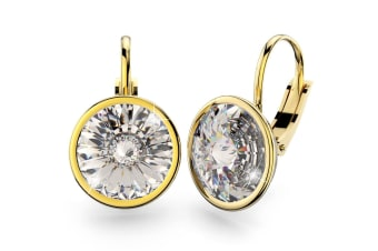 Audrey Lever Back Earrings 13mm w/Swarovski Crystals-Gold/Clear