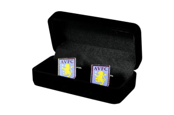 Aston Villa FC Official Football Crest Metal Cufflinks (Claret/Blue) (One Size)