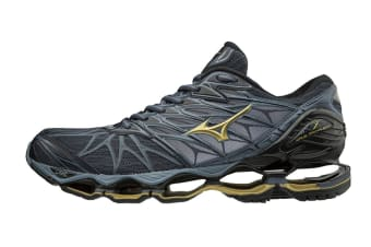Mizuno Men's WAVE PROPHECY 7 Running Shoe (Ombre Blue/Gold/Black, Size 12 US)