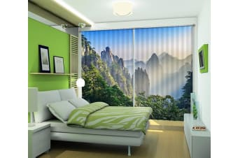 3D Misty Mountains Scenery 403 Curtains Drapes, 320cmx270cm(WxH) 126''x 106''