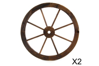 Large Wooden Wheel Garden Feature X2