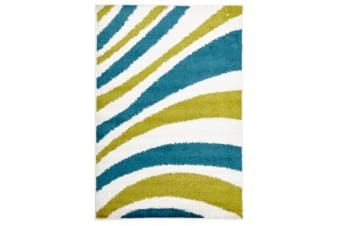 Burst Shag Rug Blue and Green 230x160cm