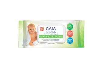 Gaia 80PK Natural/Pure/Organic Bamboo Baby/Kid Wipes Lightly Scent/Free Alcohol