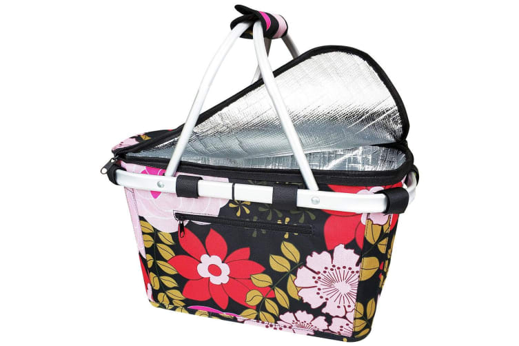 Sachi Collapsible Foldable Insulated Picnic Shopping Basket w  Lid Floral Blooms