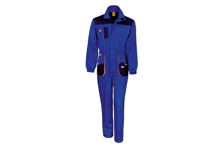 Result Unisex Work-Guard Lite Workwear Coverall (Breathable And Windproof) (Royal / Navy / Orange) (XL)