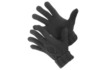 Mens Cable Knit Winter Gloves (Charcoal)