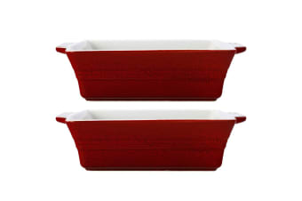 2PK Maxwell & Williams 22cm Cucina Square Baking Dish w Handles Stoneware Red