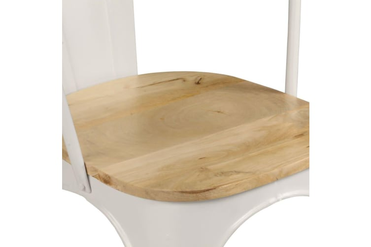 vidaXL Dining Chairs 2 pcs White Solid Mango Wood
