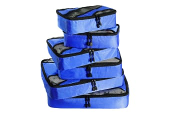 6 Pcs Travel Cubes Storage Toiletry Bag Clothes Luggage Organizer Packing Bags Blue