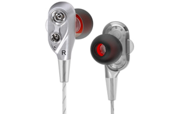 Mobile Phone Headphones Four-Core In-Ear Bass Wired Headphones Silver