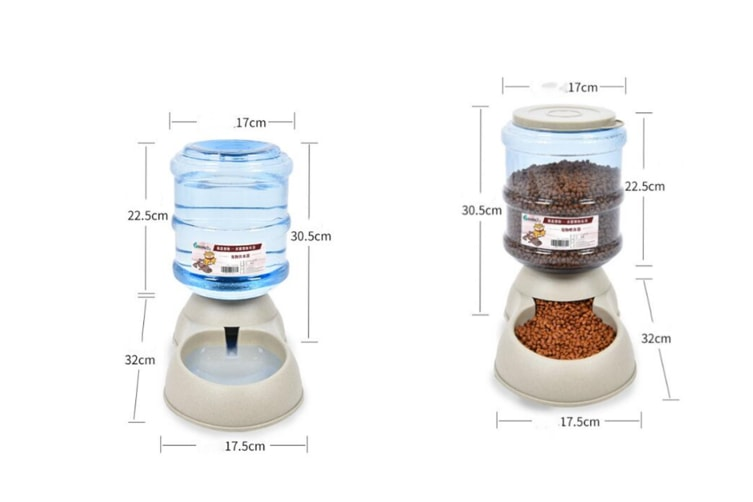 Select Mall 3.75L Large Automatic Pet Food Drink Dispenser Dog Cat Feeder Water Bowl Dish-B